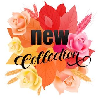 Nowa kolekcja kaligraficzna napis z kwiatów i liści.