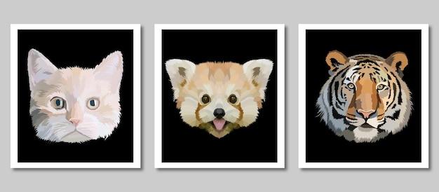 Nowa kolekcja nadruków na zwierzętach w izolowanej dekoracji w ramce