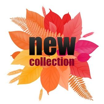 Nowa kolekcja napis z liści gradientu. kreatywny napis na liściach w centrum.