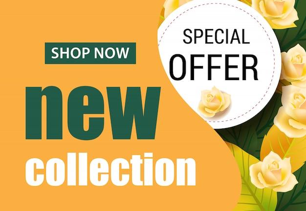 Nowa kolekcja napis z różami. sezonowa oferta lub reklama sprzedażowa