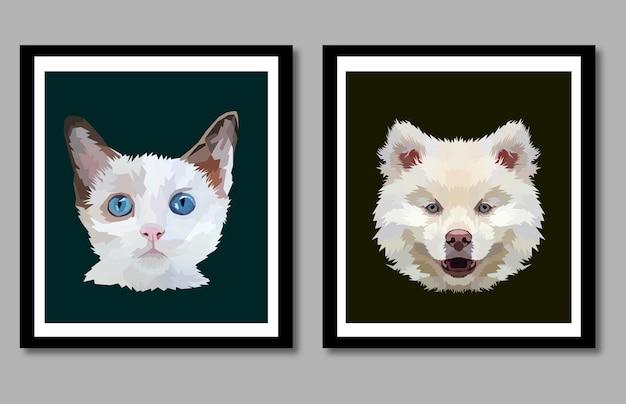 Nowa kolekcja portret zwierząt pop-art w ramce