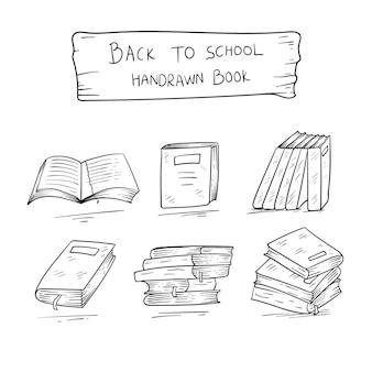 Nowa kolekcja ręcznie rysowana książka z powrotem do szkoły