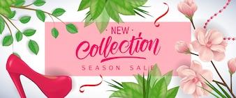 Nowa kolekcja Sezon Sprzedaż napis w różowej ramie z kwiatów wiśni, liści i buta