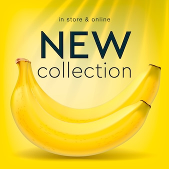 Nowa kolekcja, szablon mediów społecznościowych dla sklepu internetowego, tło bananów, ilustracja.