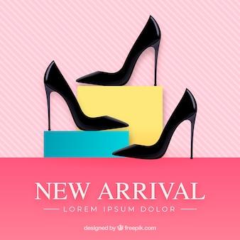 Nowa kompozycja przyjazdu z realistycznymi buty na obcasie