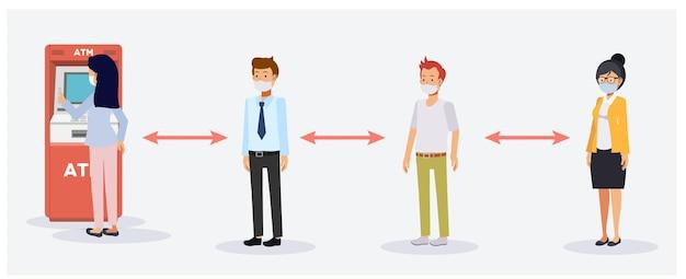 Nowa koncepcja normalnego i społecznego dystansu. osoby w kolejkach do bankomatów chronią się przed koronawirusem lub covid-19