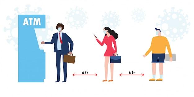 Nowa koncepcja normalnego i społecznego dystansu. różni ludzie różni narodowości, noszący maski medyczne i zachowujący dystans w kolejkach bankomatów, aby chronić coronavirus lub covid-19 w stylu płaskiej ilustracji