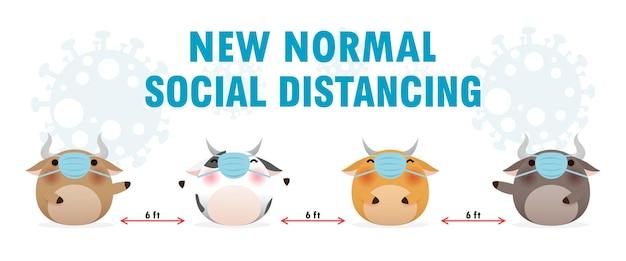 Nowa koncepcja normalnego stylu życia lub covid-19 i dystans społeczny dzięki uroczej krowie w masce na twarz.