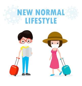 Nowa koncepcja normalnego stylu życia. para turystów z walizkami podróżuje do podróży i nosi maskę ochronną chronić koronawirusa covid-19, na białym tle na białym tle ilustracji