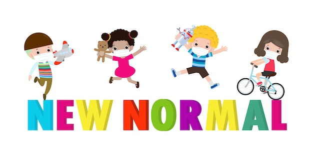 Nowa koncepcja normalnego stylu życia po wybuchu koronawirusa dzieci z zabawkami w maskach medycznych i dystans społeczny. bajki postaci na białym tle, projekt ilustracji