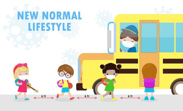 Nowa koncepcja normalnego stylu życia powrót do szkoły, szczęśliwe urocze różnorodne dzieci i różne narodowości