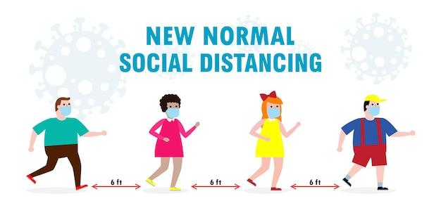 Nowa koncepcja normalnego stylu życia. szczęśliwe dzieci noszące maskę na twarz i dystans społeczny chronią koronawirusa covid 19, grupa dzieci i przyjaciół na białym tle