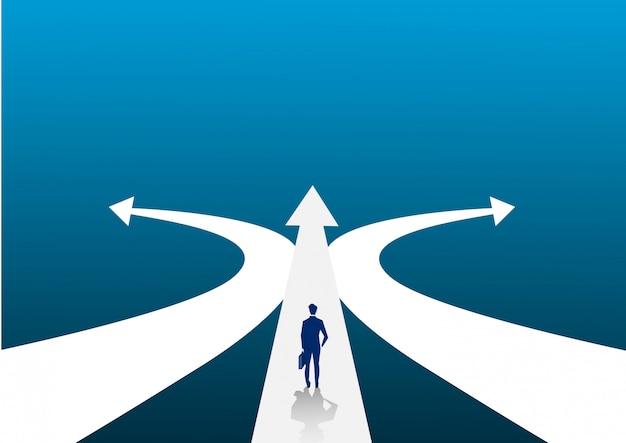 Nowa koncepcja sposobu. początek przygody i możliwości podróży. biznesmen na drodze plenerowej. ilustracja