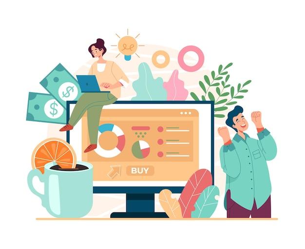 Nowa koncepcja strategii rozwoju inwestycji nowego projektu biznesowego, płaska ilustracja kreskówka