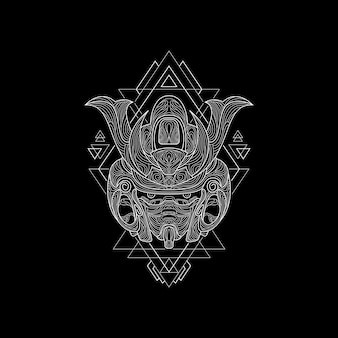 Nowa maska samurajska styl świętej geometrii