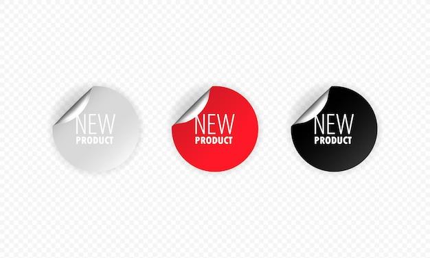 Nowa naklejka produktu, przycisk, etykieta, baner, wektor. nowy promocyjny zestaw naklejek.