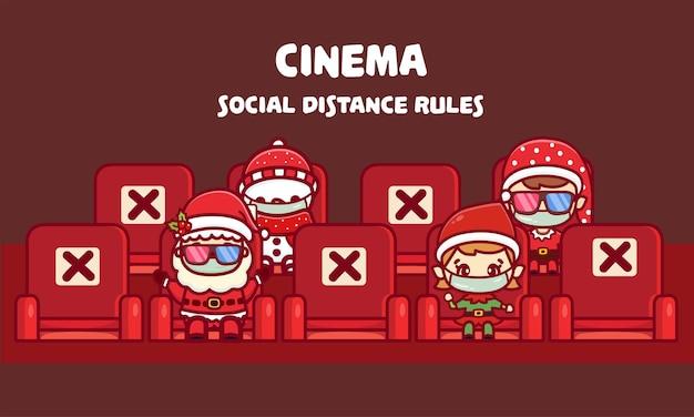 Nowa norma dystansu społecznego w miejscu publicznym, kino na boże narodzenie i nowy rok. widzowie noszący medyczną maskę na twarz oglądający świąteczny film.