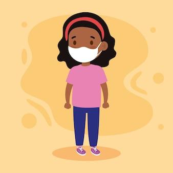 Nowa normalna ilustracja czarnego dziecka dziewczyny z maską