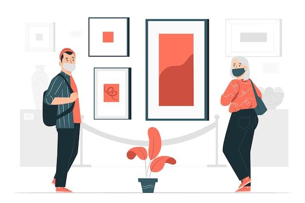 Nowa normalna ilustracja koncepcyjna muzeów (covid)