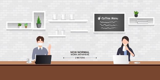 Nowa normalna ilustracja, ludzie zachowują dystans społeczny w restauracji, kawiarni i przestrzeni do pracy