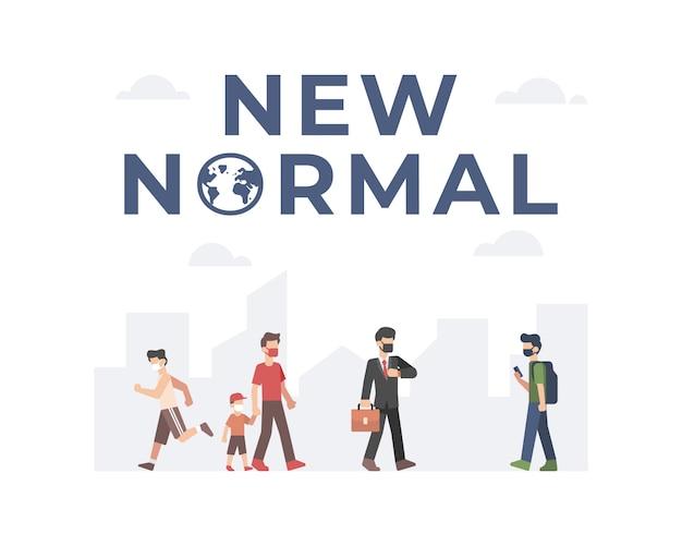 Nowa normalna ilustracja przedstawiająca ludzi wracających do pracy i wykonujących czynności, jednocześnie przestrzegając protokołów bezpieczeństwa i higieny, zakładając maskę na twarz i zachowując dystans społeczny z tłem miasta