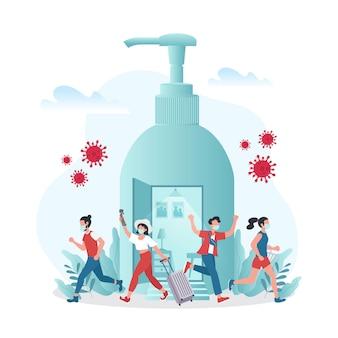 Nowa normalna ilustracja przedstawiająca malutkie osoby opuszczające kwarantannę i powracające do aktywności na świeżym powietrzu z maską ochronną przed wybuchem choroby. ponownie otwórz gospodarkę po zablokowaniu koronawirusa