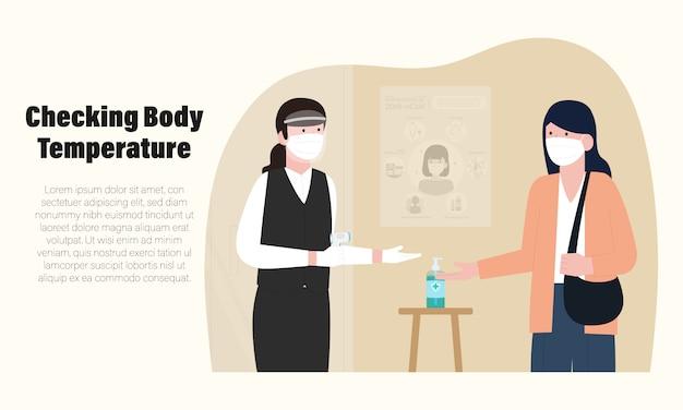Nowa normalna infografika restauracji ze sprawdzaniem temperatury ciała na ilustracji restauracji