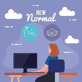 Nowa normalna kobieta przy biurku, projekt wirusa covid 19 i motyw prewencji