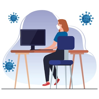 Nowa normalna kobieta z maską przy biurku projekt wirusa covid 19 i motyw prewencji