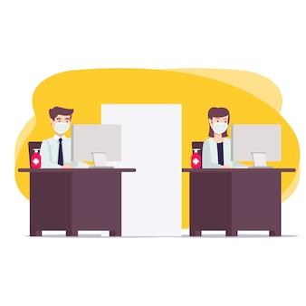 Nowa normalna koncepcja biura dla strony docelowej, witryny internetowej i wielu innych. nowy zwyczaj podczas pandemii, w którym pracownicy zachowują protokoły zdrowotne