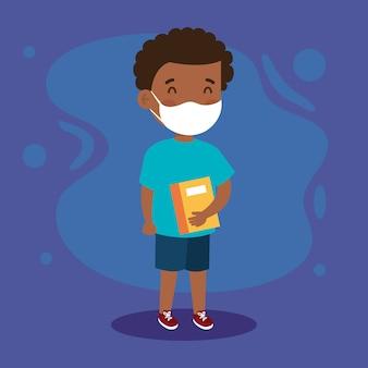 Nowa normalna szkoła ilustracja dziewczyny dziecko z maską i książką