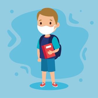 Nowa normalna szkoła ilustracja dziewczyny dziecko z torbą na maskę i książką