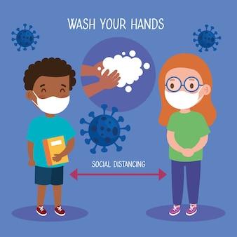Nowa normalna szkolna ilustracja dystansu społecznego między dziewczyną a chłopcem z maskami na twarz