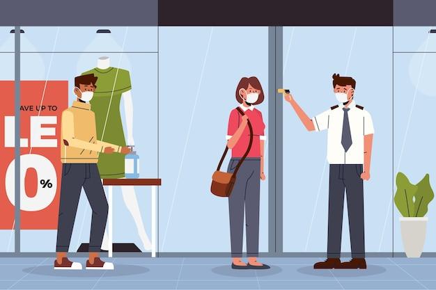 Nowa normalność przy wejściu do sklepów