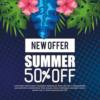 Nowa oferta na lato za pięćdziesiąt procent, baner z kwiatami i tropikalnymi liśćmi, egzotyczny kwiatowy baner