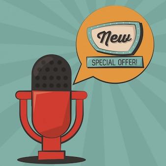 Nowa oferta specjalna mikrofon vintage plakat