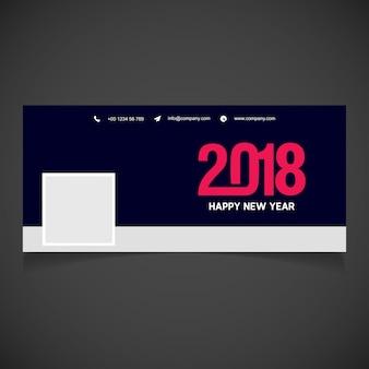 Nowa okładka facebooka z 2018 creative red typography z roku 2018