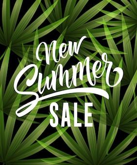 Nowa sprzedaż lato literowanie z tropikalnych liści. Letnia oferta lub reklama sprzedażowa