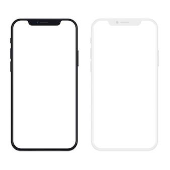 Nowa wersja smukłego czarno-białego smartfona z pustym białym ekranem. realistyczna ilustracja