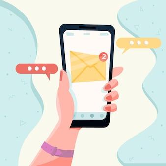 Nowa wiadomość na ekranie smartfona. koncepcja powiadomienia e-mail. powiadomienie o nieprzeczytanej wiadomości e-mail. ilustracja wektorowa.