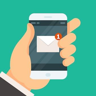 Nowa wiadomość przychodząca na smartfonie - otrzymano wiadomość e-mail