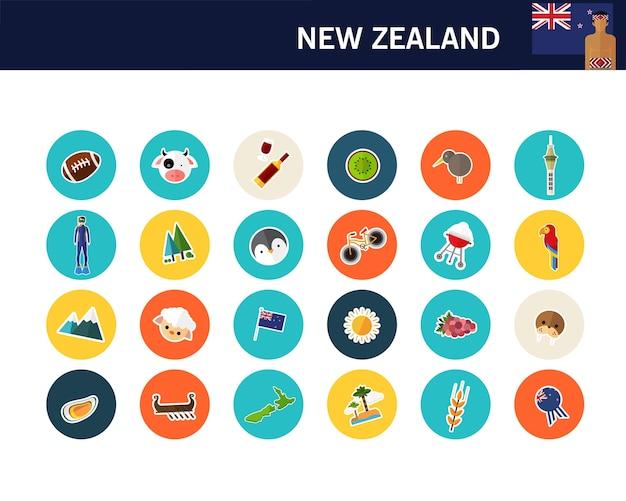 Nowa zelandia koncepcja płaskie ikony