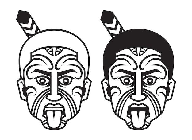 Nowa zelandia tradycyjny tatuaż maori twarz na białym tle. wektor