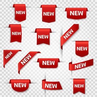 Nowe etykiety najnowszy produkt czerwone wstążki bannerowe cena metki zakupowe