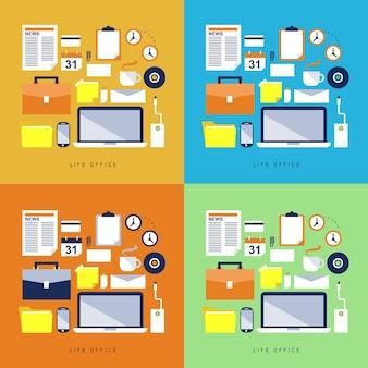 Nowe ikony ustawiane o elementach biurowych i elementach w różnych kolorach