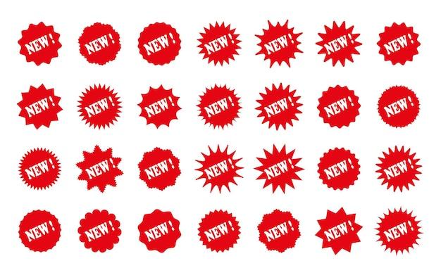 Nowe naklejki cenowe starburst. objaśnienie kształtu gwiazdy. rabatowe pudełka promocyjne, znaczki. etykiety produktów. odznaki powitalne koło. zestaw gwiazd wybuchy na białym tle. ilustracja wektorowa