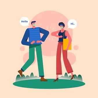 Nowe normalne gesty powitania między ludźmi