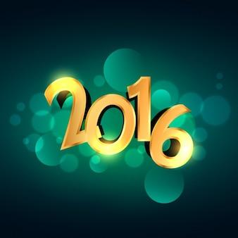 Nowe numery złote 2016 roku na zielonym tle bokeh