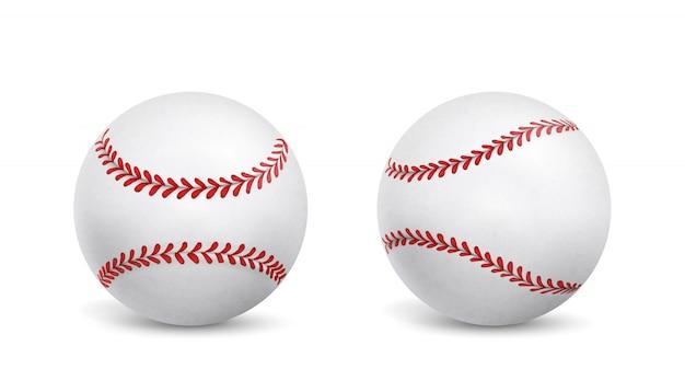 Nowe piłki baseballowe na białym tle realistyczne wektor