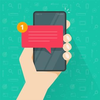 Nowe powiadomienie sms na czacie na smartfonie lub telefonie komórkowym otrzymało powiadomienie przychodzące na czacie dymek na ludzi ręka symbol na białym tle clipart